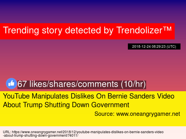 919f59a43d07c YouTube Manipulates Dislikes On Bernie Sanders Video About Trump Shutting  Down Government