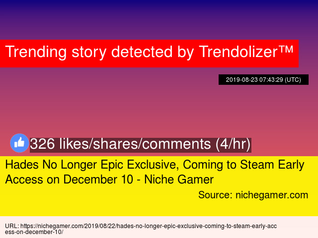 Hades No Longer Epic Exclusive, Coming to Steam Early Access